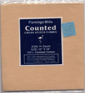 "14 Count Beige Cotton Aida Cloth Flamingo Mills NIP 12"" by 18"""