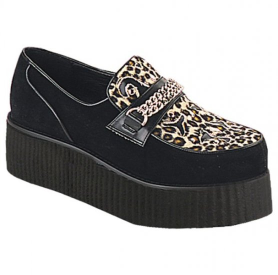 Creeper - Men's Suede Platform Shoes with Chain Accent and Cutout Designs