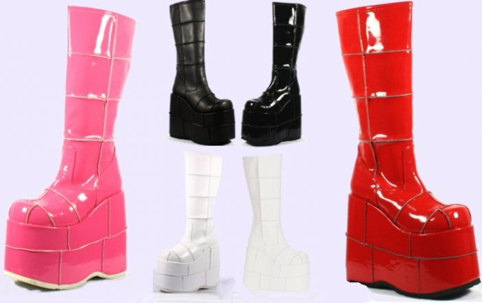 Stack - Men's Knee High Boots with Square Pattern