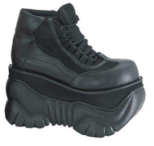 DEMONIA - Men's/Unisex Black Lace Up Platform Shoes
