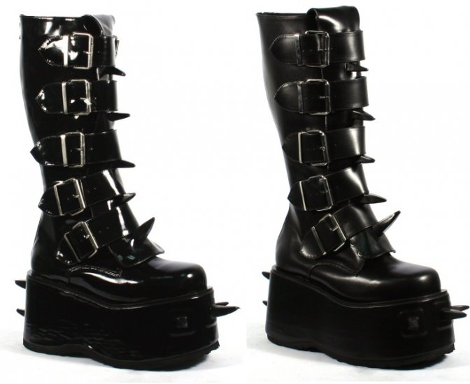 """""""Wicked"""" - Men's Buckled Platform Boots with Spike Accents"""