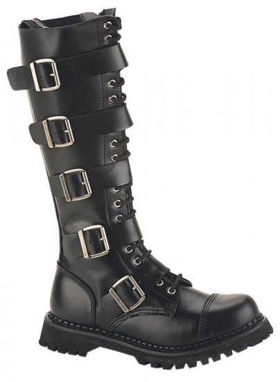 """Riot"" - Men's Knee High Lace Up Leather Combat Boots with Buckles"