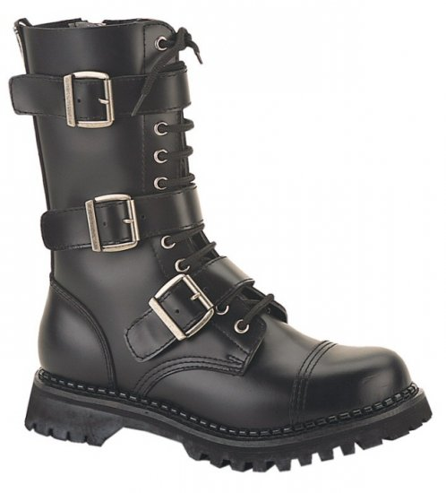 """Riot"" - Men's Mid-Calf Lace Up Leather Combat Boots with Buckles"