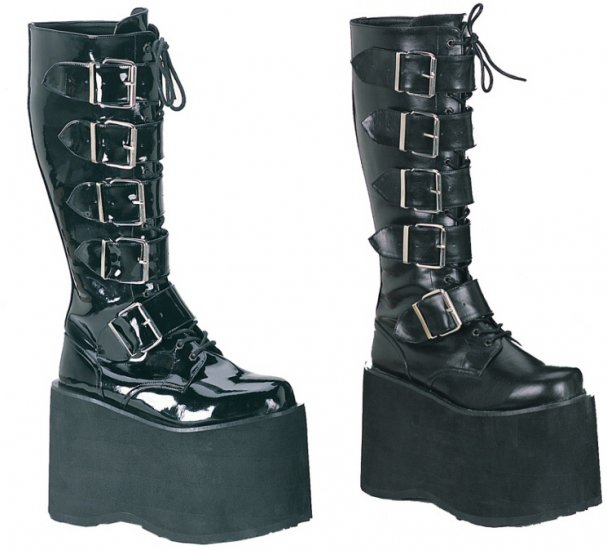 """Mega"" - Men's Extra Tall Platform Knee High Boots with Front Buckles"