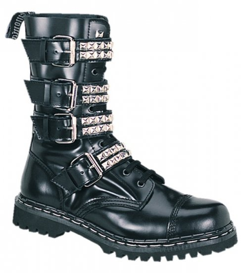 """Gravel"" - Men's Ankle High Buckled Leather Combat Boots with Pyramid Studs"