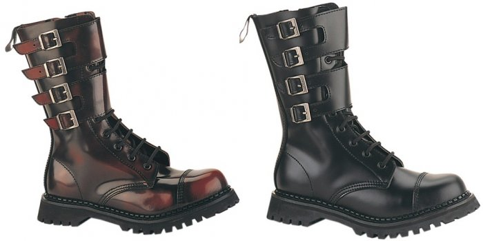 """""""Attack"""" - Men's Mid-Calf Wide Buckle Leather Combat Boots"""
