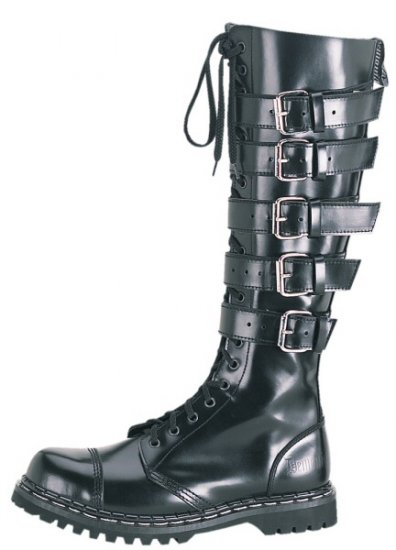 """Gravel"" - Men's Knee High Buckled Leather Combat Boots"