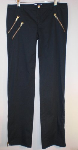 Moschino Black Straight Leg Skinny Pant/Jeans. Gold Zipper up legs