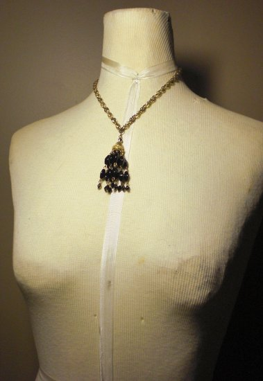 Vintage TRIFARI Gold Chain and Black Beading