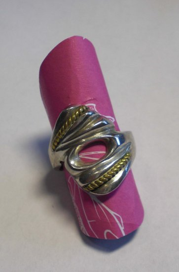 Sterling silver marked ring with gold braids!