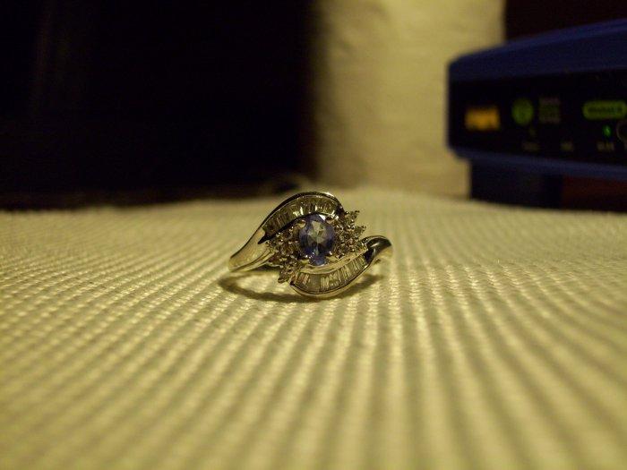 Victorian Style 14K Tanzanite & Diamonds Engagement/Wedding Ring