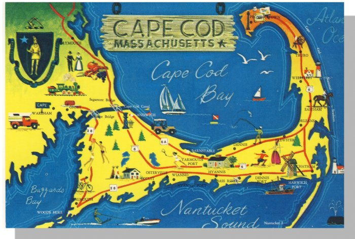 Striking CAPE COD, MASS/MA POSTCARD, Map