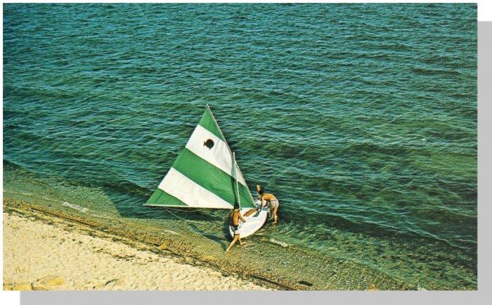 Beautiful CAPE COD, MASS/MA POSTCARD, Sailboat On Shore