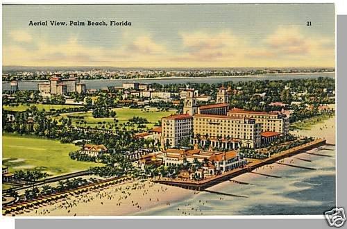 Beautiful PALM BEACH, FLORIDA/FL POSTCARD, Aerial View