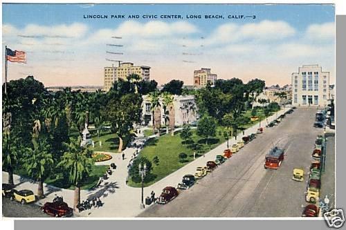 LONG BEACH, CALIFORNIA/CA POSTCARD,Civic Ctr/Lincoln Pk