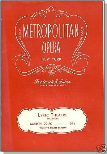 1954 LYRIC THEATER, Metropolitan Opera, Baltimore, MD