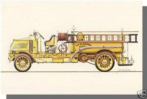 New FIRE ENGINE POSTCARD, 1915 Mack AC Rotary Pumper