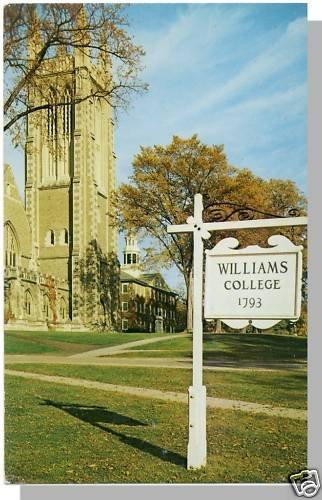 WILLIAMSTOWN, MASS/MA POSTCARD, Williams College/Hall