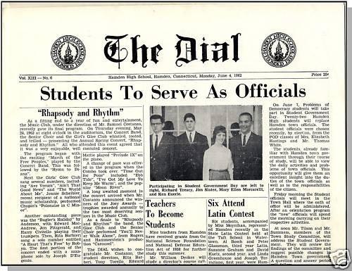 1962 HAMDEN, CONN/CT HIGH SCHOOL NEWSPAPER, The Dial
