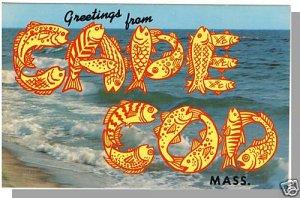 CAPE COD, MASS/MA POSTCARD, Greetings/Cod Fish/Surf
