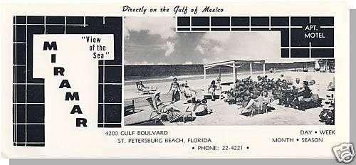 ST PETERSBURG, FLORIDA/FL,Miramar Motel Brochure,'50's?