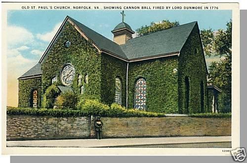 NORFOLK, VIRGINIA/VA  POSTCARD, Old St. Paul's Church