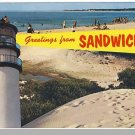 SANDWICH, MASS/MA POSTCARD, Greetings/Lighthouse/Beach