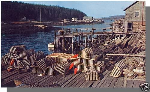 Beautiful MAINE/ME POSTCARD,Maine Fishing Village/Traps