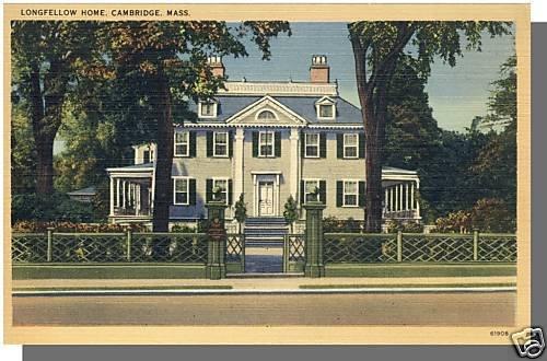 Nice CAMBRIDGE, MASS/MA POSTCARD, Longfellow Home