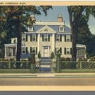 Nice CAMBRIDGE, MASS/MA POSTCARD, Longfellow Home