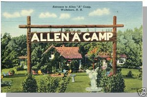 "WOLFEBORO, NEW HAMPSHIRE/NH POSTCARD, Allen ""A"" Camp"