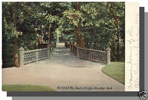 Early PORTLAND, MAINE/ME POSTCARD, Riverton Park/Bridge