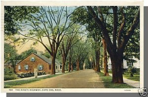 YARMOUTHPORT, MASS/MA POSTCARD, King's Highway,Cape Cod