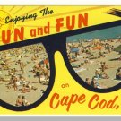 CAPE COD, MASS/MA POSTCARD, Sun & Fun, Beach/Sunglasses
