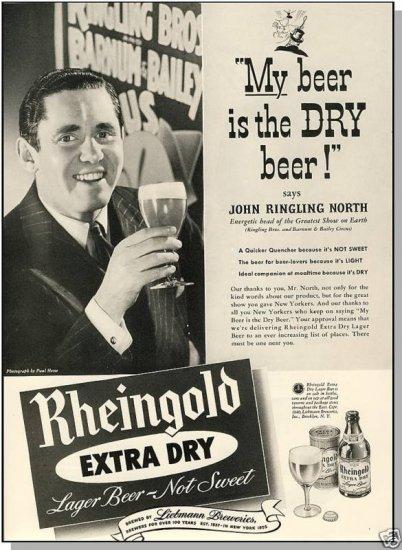 1940 RHEINGOLD BEER AD, Ringling/Barnum Bailey Circus