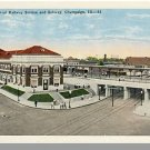 CHAMPAIGN, ILLINOIS/IL POSTCARD,Central Railway Station