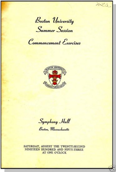 1953 BOSTON UNIVERSITY Commencement Exercises,Boston,MA