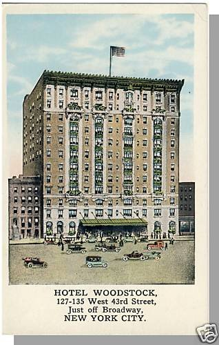 Beautiful NEW YORK/NY POSTCARD, Hotel Woodstock,1920's?
