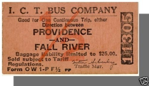 ICT BUS COMPANY TICKET,Providence, RI to Fall River, MA
