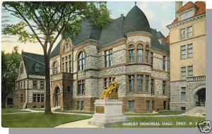 TROY, NEW YORK/NY POSTCARD, Gurley Memorial Hall, 1915!