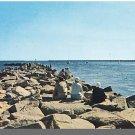 GALILEE, RHODE ISLAND/RI POSTCARD, Rocky Pier/Ocean