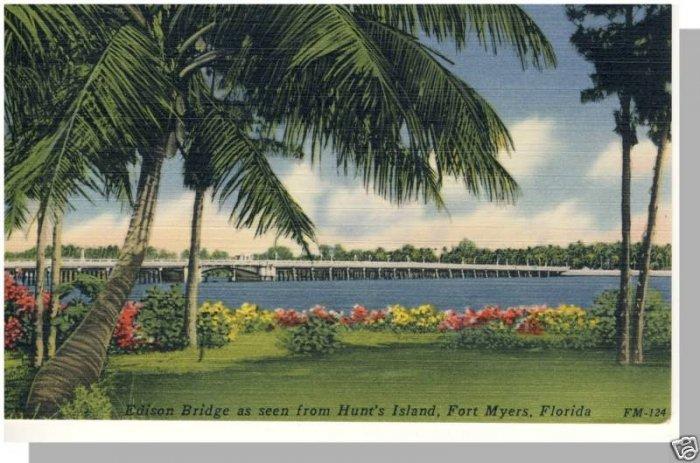 Beautiful FORT MYERS, FLORIDA/FL POSTCARD,Edison Bridge