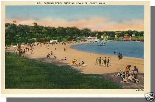 Nice ONSET, MASS/MA POSTCARD, Bathing Beach, Cape Cod