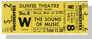 1965 DURFEE THEATRE TICKET,Fall River,MA,Sound Of Music