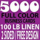 "5,000 ""Custom Design"" Linen Business Cards"