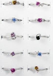 20 Rhodium Plated colorful Rings w/lab createdgemstones