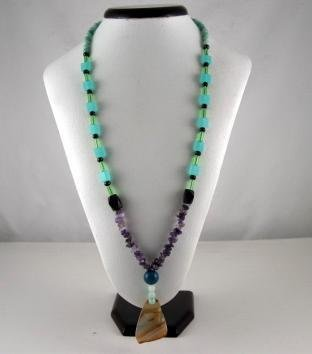 Bohemian Style Natural gemstone Pendant Necklace(Green)