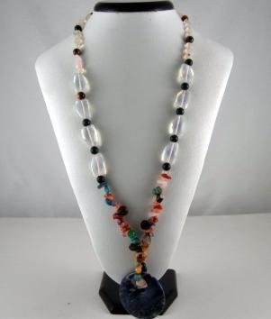 Bohemian Style Natural gemstone Pendant (Black)Necklace