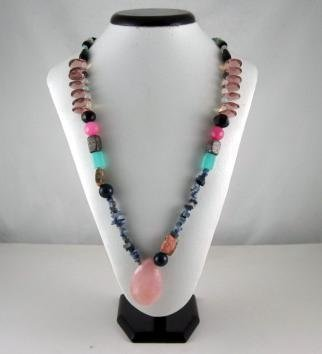Multicolor Bohemian Natural gemstone Necklace (Pink)
