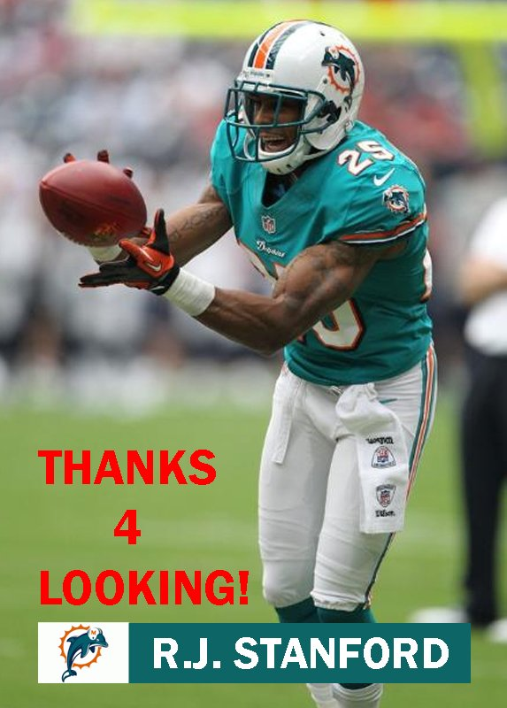 STANFORD 2012 MIAMI DOLPHINS FOOTBALL CARD